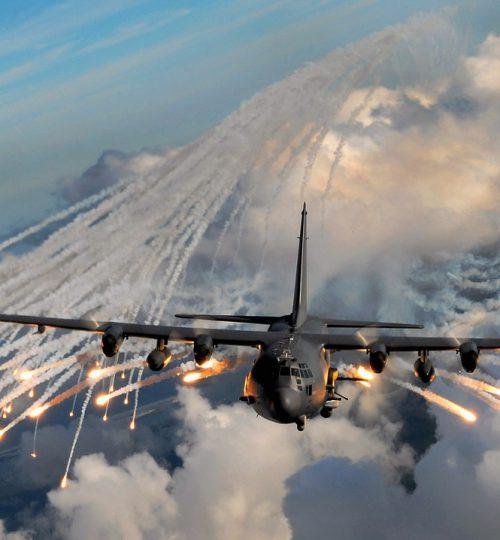 military aircraft, flares, drop